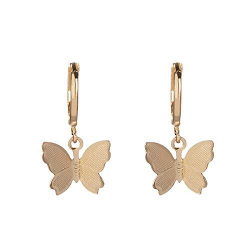 Ruby569y Pendientes colgantes para mujeres y niñas, 1 par de mujeres exquisito simple dulce mariposa colgante pendiente joyería accesorio - dorado