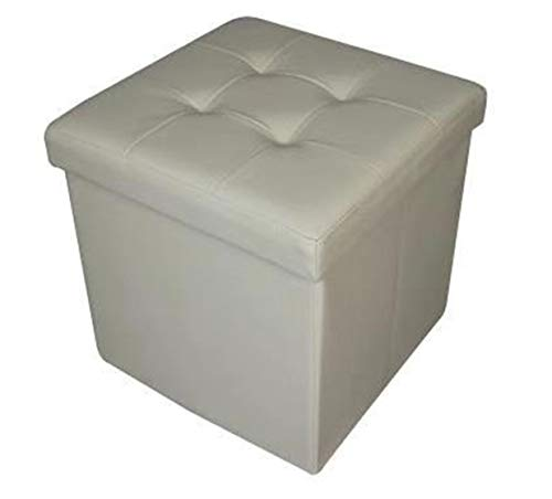 HomeHarmony Quilted Top Folding Storage Ottoman Seat, Stool, Toy Storage Box Faux Leather (Cream, Medium)