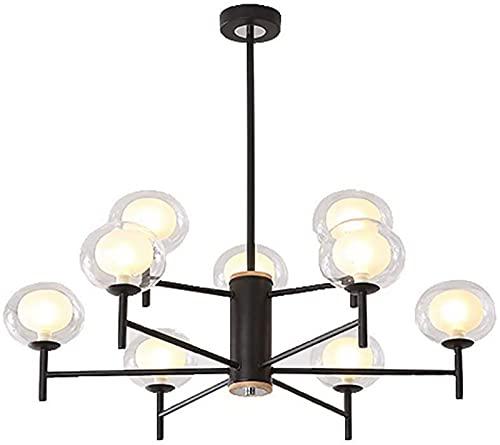 LZXH Applique Murale élégante Lampe de Lustre Noire, Verre Boule Industrielle Moderne Pendant l'éclairage plafonnier pour Salle à Manger Salon-Lampe de Décor à 9 têtes Noire