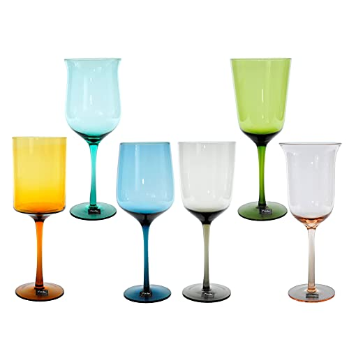 Fade S.p.A Bicchieri Vetro Calice Vino Celine Colori e Forme Assortiti ml.500 Set Pezzi 6