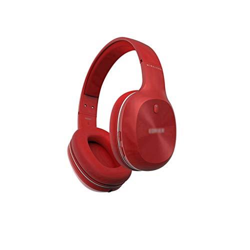 Auriculares Gamer Auriculares Bluetooth Auriculares sobre Oído Auriculares Suave Proteína Earmuffs Activo Ruido Cancelación 55H Tiempo de Juego con Modo Cableado Headphones (Color : Red)