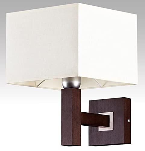 Bauhaus Lámpara de hotel (Bauhaus, crema, marrón, pantalla cuadrada, E14), lámpara de interior, lámpara de pasillo, lámpara de madera, lámpara de pared, lámpara de dormitorio