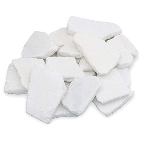 """Bulk Sliced Santorini Stones for Painting – 20 Flat White Marble Stones for Rock Painting and Arts and Crafts, 2"""" – 3.5"""" inch Rocks, Super Smooth 100% Natural Rocks for Mandala and Kindness Stones"""