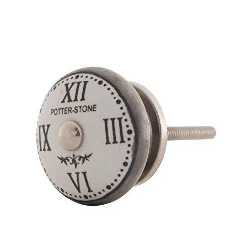 Vintage Möbelknopf Keramik Landhausstil Shabby-Chic Französch Alte Uhr (Potter Stone)