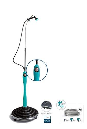 G.F Solardusche Sunny Premium, Blaue Gartendusche mit UV-beständigem Wassertank - Pooldusche mit individuell verstellbarem Duschkopf Solar Dusche Komplettset anschlussfertig