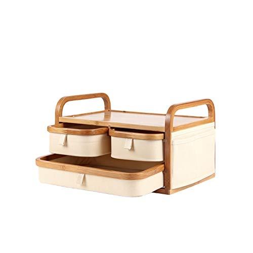 SMEJS Caja de Almacenamiento de Madera, cosmética Caja de Almacenamiento, bambú Oficina de Tela Caja de Almacenamiento de Escritorio, hogar de Las misceláneas Caja de Almacenamiento