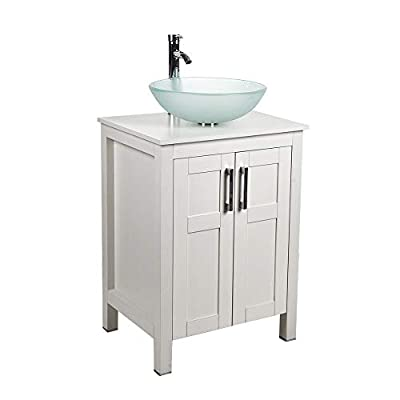 24 Inch Bathroom Vanity and Sink Combo White Modern MDF Board Countertop Vessel Sink with Water Saving 1.5 GPM Faucet and Pop-up Darin Bathroom Cabinet