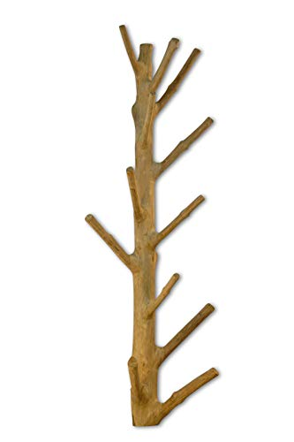 Kinaree Wandgarderobe Baumstamm Mangosteen | Naturbelassene Wandgarderobe aus Massivholz | Handarbeit & Unikat | Stabile Holz Wandgarderobe