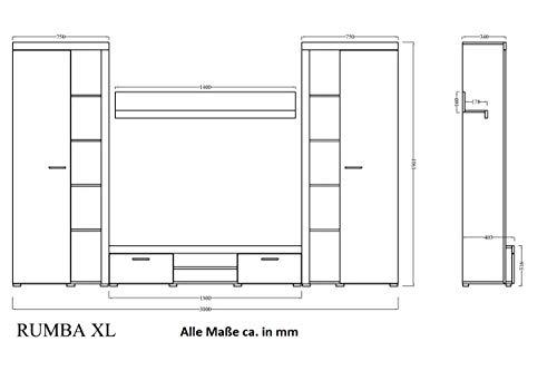 Wohnwand in Betonoptik Weiss matt, TV-Board mit Vitrinen kaufen  Bild 1*
