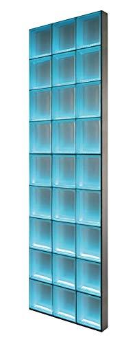Fuchs Design Light My Wall® beleuchtete Glassteinwand 73,5x220,5 cm - DIY - Vollsicht Klar glänzend Klar 24x24x8 cm Beleuchtung Bunt (Farbwechsel) - Aluminium satiniert - Raumteiler Duschwand