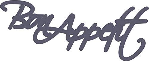 "Cuadros Lifestyle Wandobjekt   Wanddekoration   ""Bon Appetit""   Schriftzug   Wandbuchstaben, Größe:ca. 59x24 cm, Farbe:Graublau"