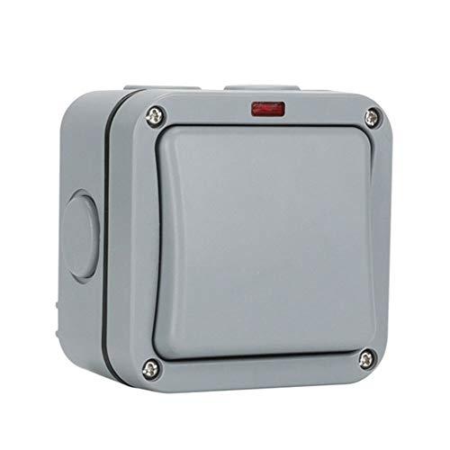 Interruptor de jardín resistente a la intemperie, interruptor de exterior IP66 Interruptor de luz ABS con orificio de montaje extraíble y enchufe para balcón Césped Baño Jardín de jardín gris (1)