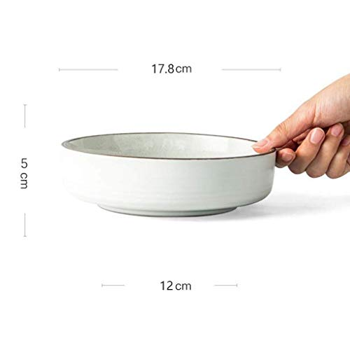 NJIUHB Bowl, in Europese stijl Simple Matte Keramiek + Salade Kaas Bowl, plantaardige Bowl, kan worden gebruikt in de magnetron, twee kleuren, 7,0 * 1,9 * 4.7in (Color : White)