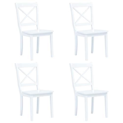 Silla de Comedor, Silla de Cocina, sillón de salón, Asiento Decorativo, Silla de recepción, sillas de Comedor, 4 Piezas, Madera de Caucho Macizo Blanco