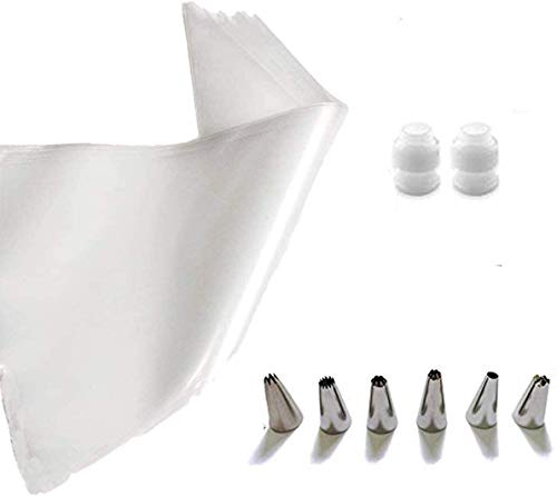 Cake Decorating Bags Pastry Bag Piping Bag Disposable Cake Icing Decorating Piping Bags Set for Cake Decorating Reusable for Cookies Small 100PCS with 6 Decorating Tips 2 Coupler (12 inch) xinjing