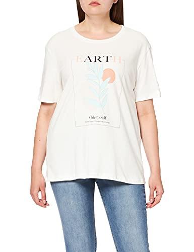 NA-KD Earth Printed t-Shirt Camiseta, Blanco Roto, 2XS para Mujer