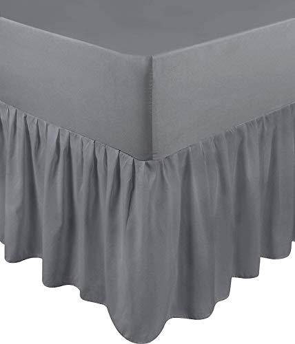 Utopia Bedding Falda De Cama con Volantes - Cama 90 - Extra Profundas (Ajuste De Caja 25 cm + 40 cm Volantes Caída) - (Gris, 90 x 190 cm)