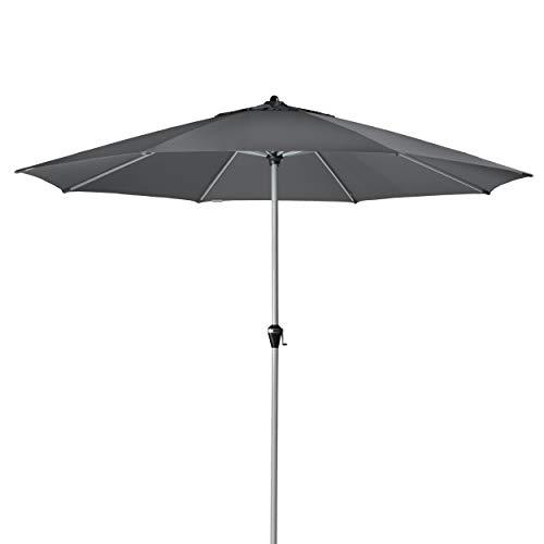 Doppler Active KURBEL – Runder Kurbel Marktschirm mit großem Schirmdach – Regenabweisend – ca. 380 cm – Anthrazit