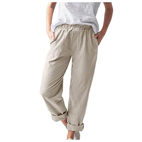melupa Summer Pants for Women Casual Pockets Cotton Linen Wide Leg Trousers Loose Elastic Waist Capris Beach Crop Pants Khaki