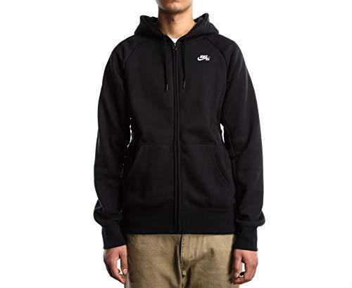 Nike SB Icon Full Zip L/S Hoodie Black/White AQ9568-010 (Large)