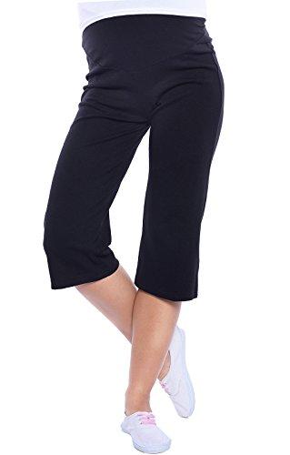 Mija - Sehr Bequeme Capri 3/4 Umstandshose/Sweatpants/Haushose 3091 (42, Schwarz)