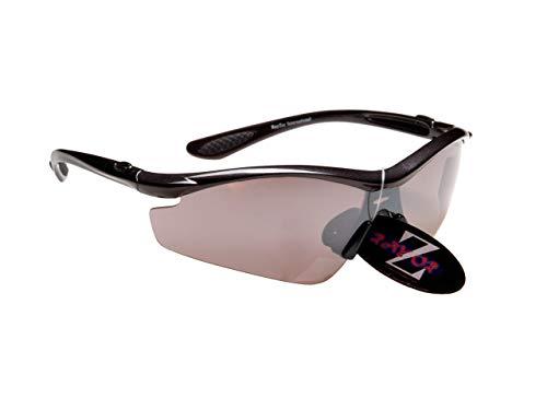 Rayzor Profesionales Ligeros UV400 Negro Deportes Wrap Golf Gafas de Sol, con una antideslumbrante Lente Ahumado con Espejo.