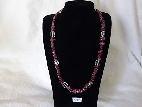 MS Halsketting met mineralen en edelsteen, ketting, sieraden, toermalijn met bergkristal, edelsteen collier EK00009