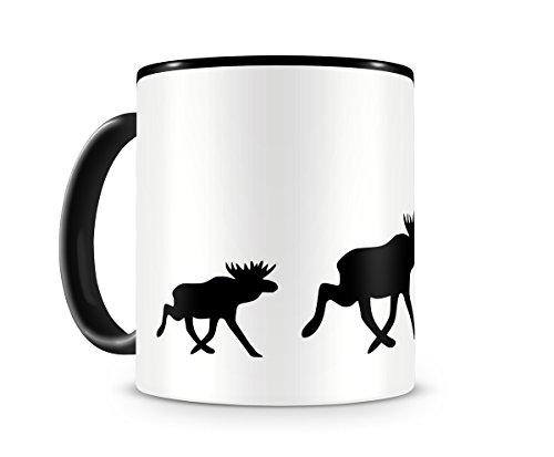 Samunshi® Elchkarawane Elch Tasse Kaffeetasse Teetasse Kaffeepott Kaffeebecher Becher H:95mm/D:82mm schwarz