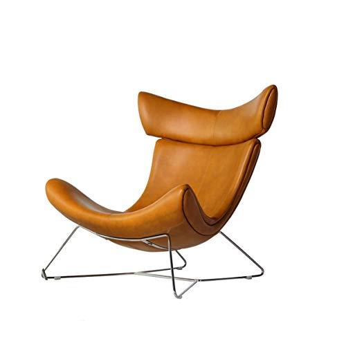 Nordic Light Luxus 1-Sitzer Sofasessel mit hoher Rückenlehne Freizeit Lederkunst Lounge-Chair für Wohnzimmer Amerikanische Sessel Couch,Coffee