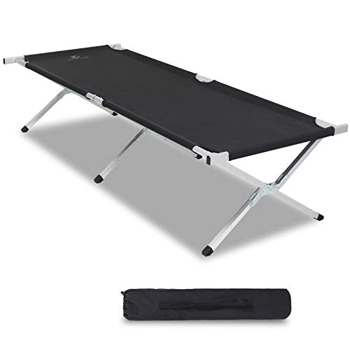 Camping World Portable Folding Bed Extra Aluminum Camping Cot for Adults, Outdoor and Indoor with Carry Bag - 82.7' x28.3' Support 500lbs