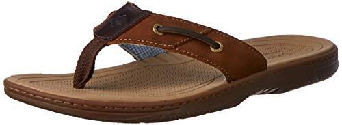 Sperry Mens Baitfish Thong Sandals, Brown/Buc Brown, 12