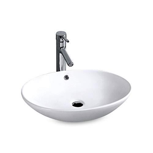 Aufsatz Keramik Waschbecken Rund Park 2.0 Brillant Weiß 63 cm mit Easy Clean Oberfläche Design Aufsatzwaschbecken Oval Waschschale