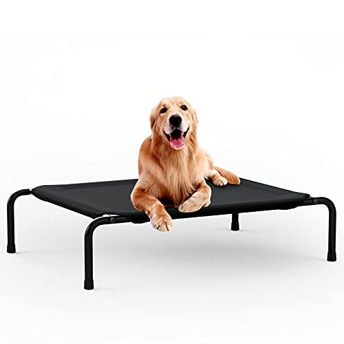 YMINA Cama Elevada para Perros Camas de Enfriamiento Lavables para Mascotas Impermeable al Aire Libre Interior Verano Malla Transpirable Negro Pies de Goma Antideslizantes Grande 109x85x20cm
