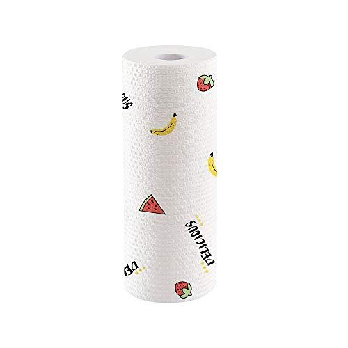 Rollo de Toallas de Papel de Cocina de Bambú Lavable, 【50 Hojas】 Reutilizable y Ultra Absorbente, Ecológico, Versátil y Resistente a la Rotura (Patrón de Frutas)