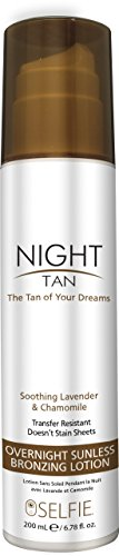 Selfie Night Tan Overnight Sunless Lotion 'The Tan of Your Dreams' (Beach Bronze) Transfer Resistant - Infused With Soothing Lavender & Chamomile, Formulated For All Skin Types, 6.78 oz