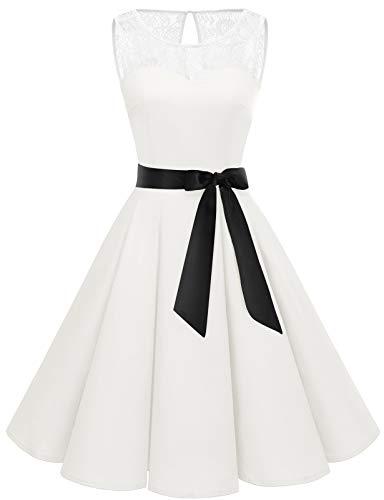 Bbonlinedress Rockabilly Kleider Damen prinzessinenkleid mädchen Kleid Hochzeit gast cocktailkleid Damen Vintage Kleid Rockabilly Kleider Damen All White M
