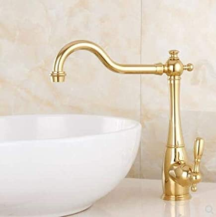 Oudan European Style Copper And gold Platform, Basin Basin, Hot And Cold Water Faucet, American Elongated redary Pipe, Kitchen Sink Faucet. (color   , Size   )