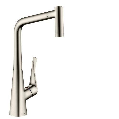 Hansgrohe 14820800 Metris grifo de cocina con ducha extraíble, acero inoxidable