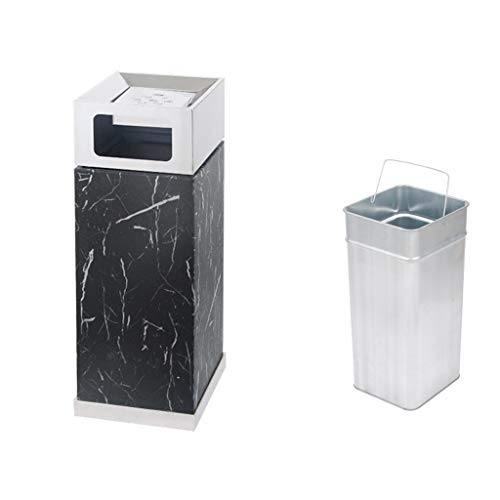 DWX Black Marble Pattern Outdoor Trash Can with Inner Bucket Ashtray, Large Stainless Steel Garbage Bin Waste Recycling Rubbish Holder