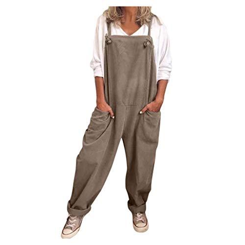 WUAI-Women Casual Loose Baggy Bib Pants Linen Cotton Wide Leg Harem Overalls Jumpsuits Casual Rompers Plus Size(Coffee,4X-Large)