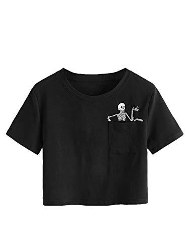 SweatyRocks Women's Cute Floral Print Cropped Tee Short Sleeve Crop Top Black S