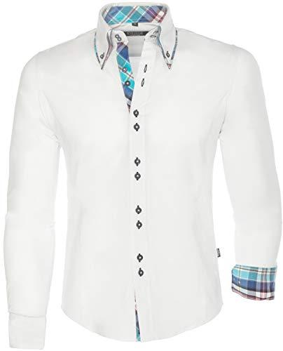 CARISMA Herren Hemd Herren Hemd Langarm Slim-Fit Button-down Doppelkragen, White, L