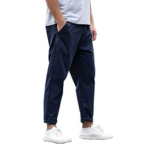 [Make 2 Be] メンズ 9分丈 カラー パンツ 無地 ワイドパンツ 大きいサイズ ゆったり 綿100 テーパード 美シルエット チノパン ロングパンツ 綿パン MF95 (27.Navy_36)