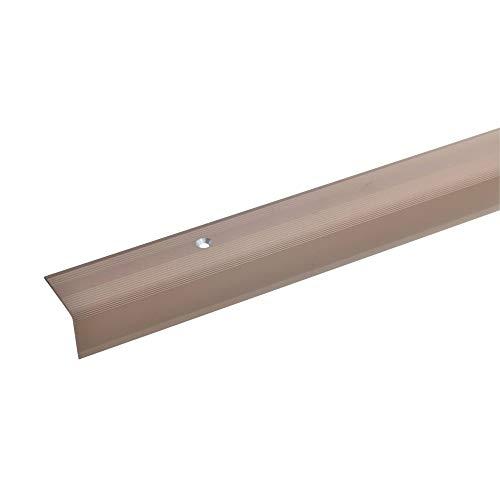 acerto 51094 Aluminium Treppenwinkel-Profil - 170cm, 22x30mm ✓ Rutschhemmend ✓ Robust ✓ Leichte Montage | Treppenkanten-Profil, Treppenstufen-Profil aus Alu | Gelochtes Stufenkanten-Profil
