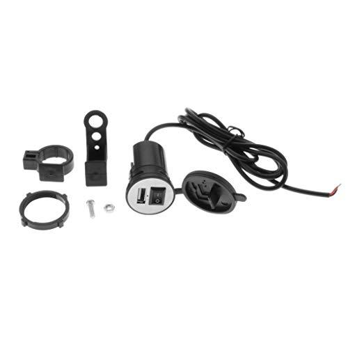 MagiDeal Toma de Corriente para Motocicleta Cargador de Teléfono USB único Adaptador de Corriente 12V 2.1A - Negro, 57x45x22mm