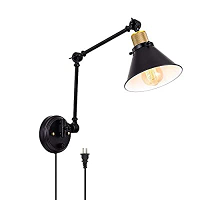 TRLIFE Plug in Wall Sconces, Dimmable Wall Sconce with Switch, Swing Arm Wall Lights Plug in Wall Mounted Industrial Wall Sconce Lighting with 6FT Plug in Cord, E26 Base, UL Listed