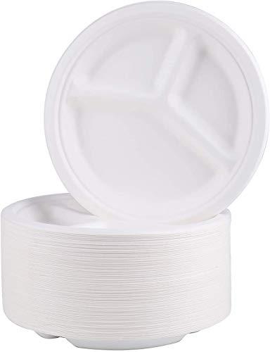 Bekith Paquete de 100 platos de papel, 10 pulgadas (25 cm) de 3 compartimentos biodegradables platos desechables compostables, bagazo natural ecológico hecho de fibras de caña de azúcar, color blanco