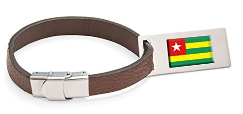 Select Gifts Togo Fahne Leder Kofferanhänger Edelstahl Gravur Text