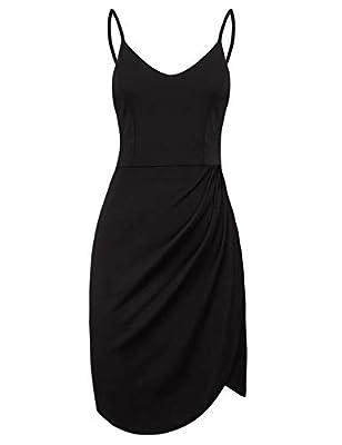 iClosam Women Summer Spaghetti Strap Deep V Neck Side Slit Mini Cami Camisole Dress