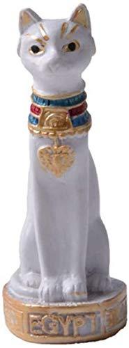 JJDSN Estatua de la Diosa Bastet, Figura de Gato Egipcio, Escultura mitolgica, decoracin de Resina, Adorno de Escritorio, Regalo, Blanco